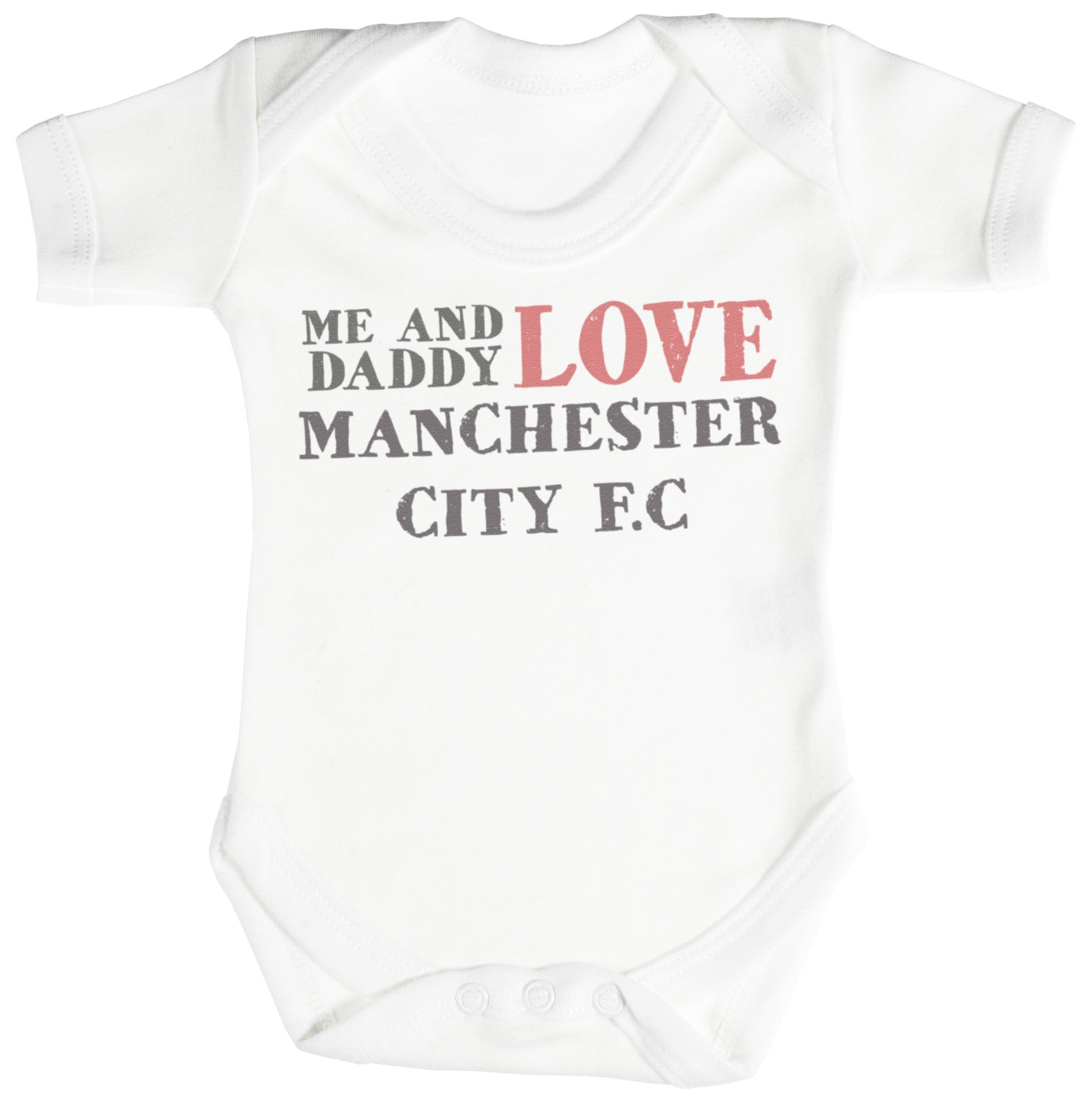 Me & Daddy Text Love Manchester City Baby Bodysuit / Babygrow