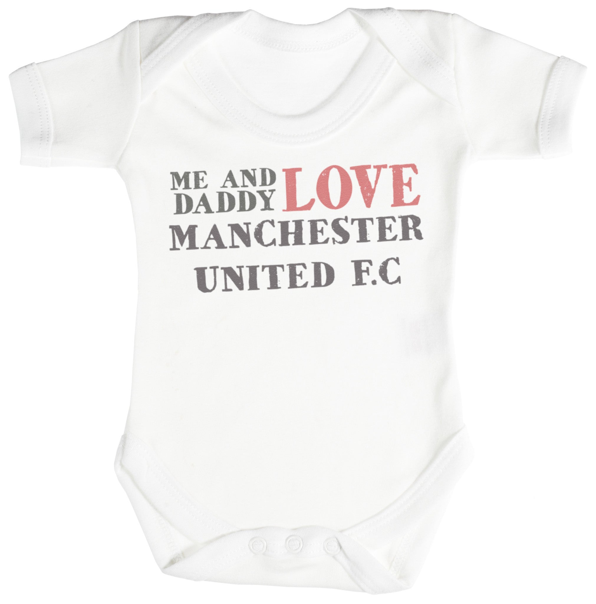 eec119ec1 Me   Daddy Text Love Manchester United Baby Bodysuit   Babygrow ...