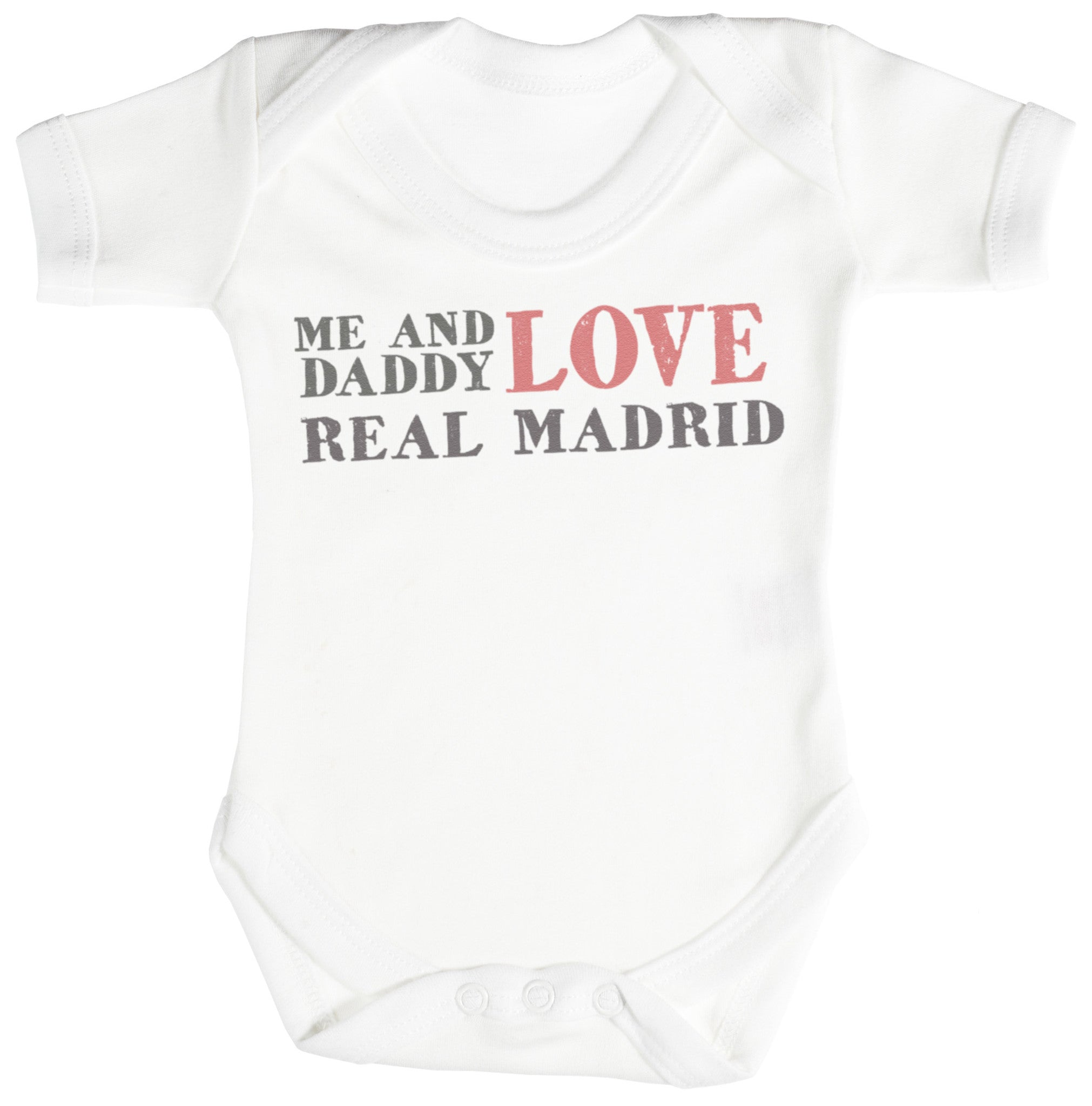 Me & Daddy Text Love Real Madrid Baby Bodysuit Babygrow
