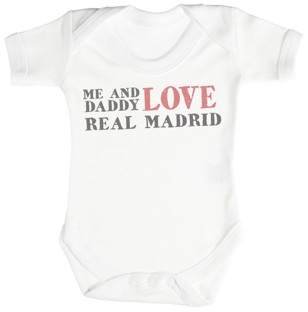 Me & Daddy Text Love Real Madrid Baby Bodysuit / Babygrow