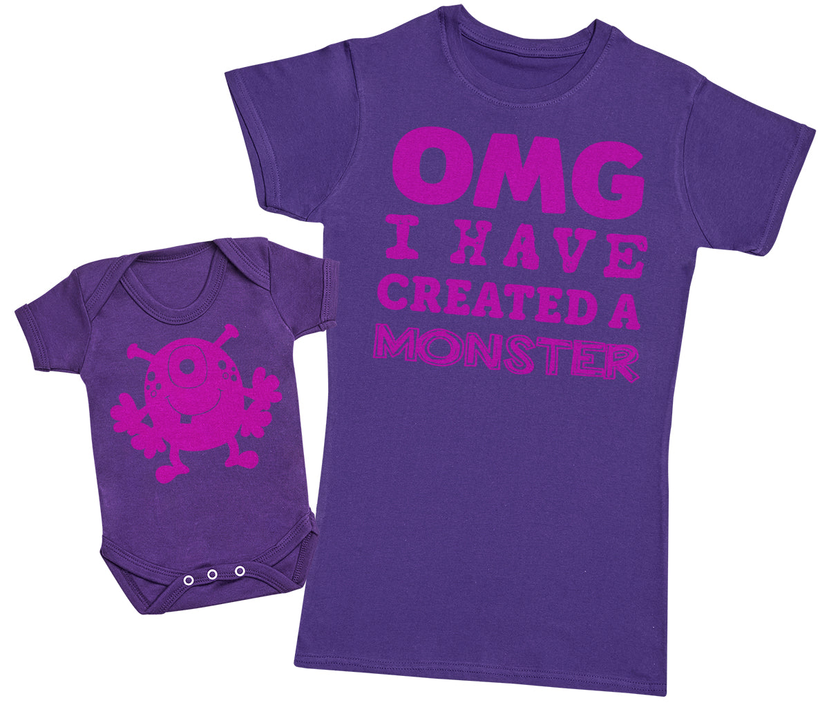OMG I've Created A Pink Monster!- Mothers T-Shirt & Baby Bodysuit