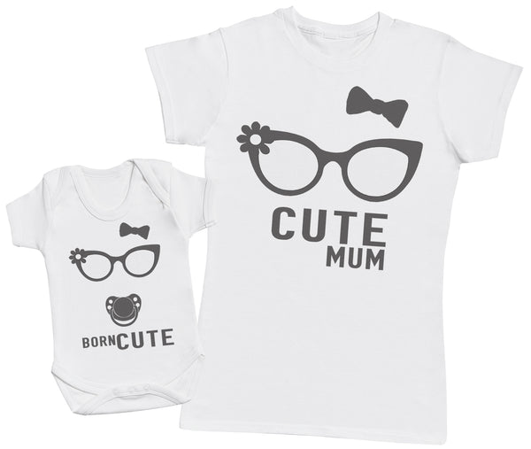 Born Cute - Matching Mother Baby Gift Set - Womens T Shirt   Baby ... 1998f10ae