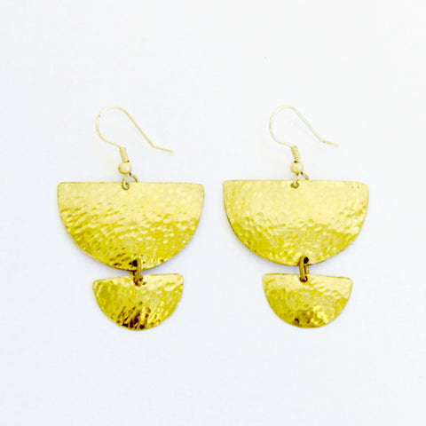 Habari Hammered Brass Earrings