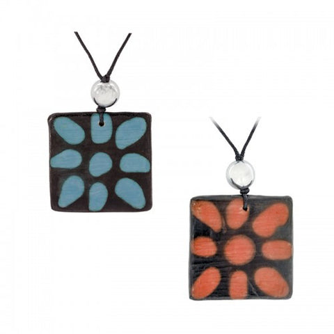 Honduras Ceramic Flower Pendant Necklace