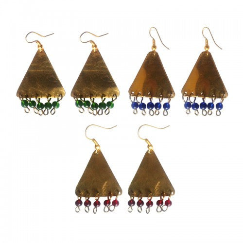 Tribal Brass and Bead Earrings