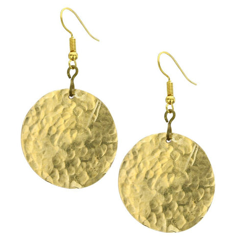 Kenyan Brass Disk Earrings