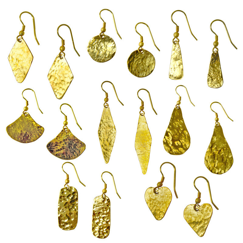 Kenyan Hammered Brass Earrings