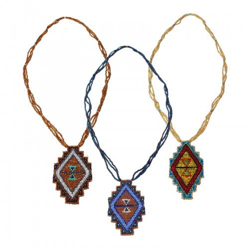 Mayan Pyramid Beaded Pendant Necklace