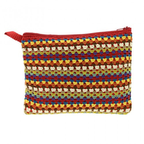 Crochet Stripe Cosmetic Bag