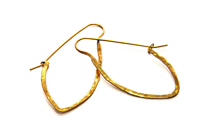 Small Arrow Hoop Brass Earrings