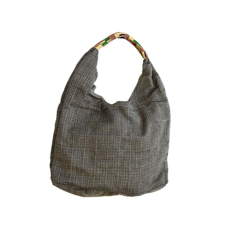 Black and White Woven Hobo