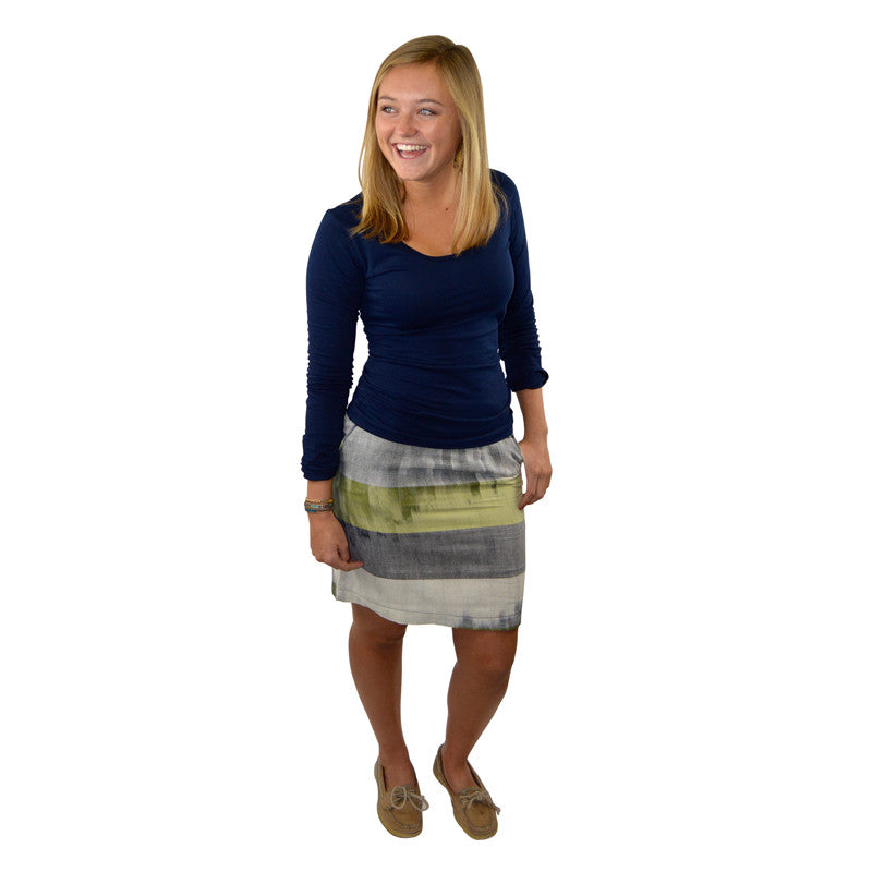 Handwoven Stripe Pencil Skirt