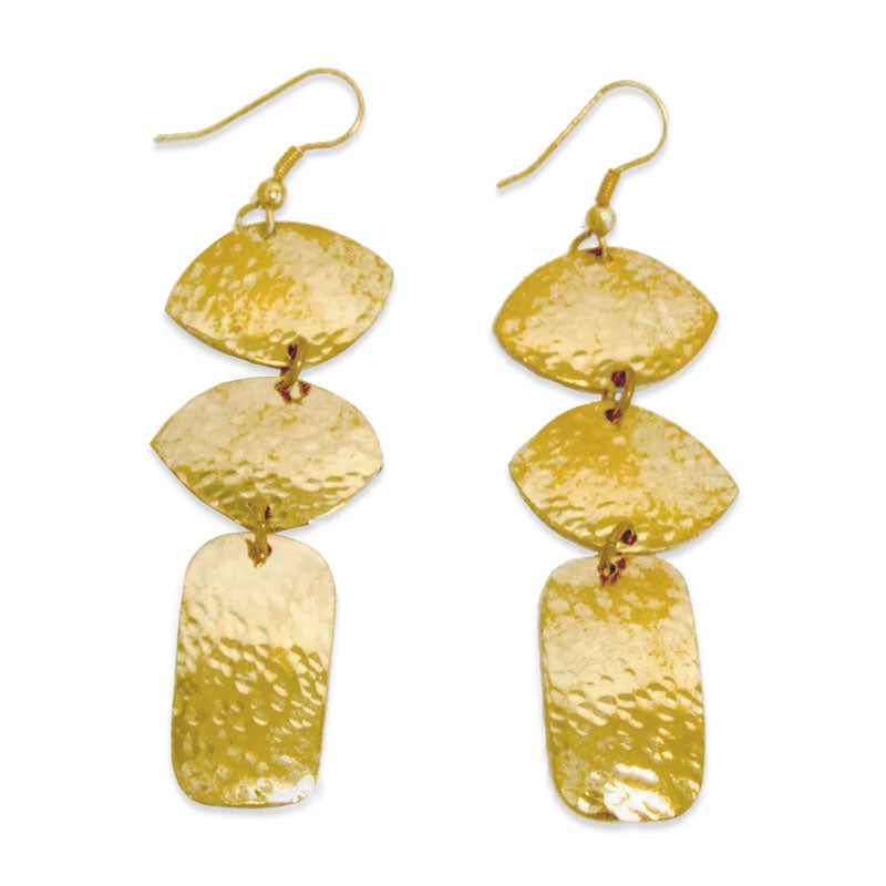 Nzuri Hammered Brass Earrings