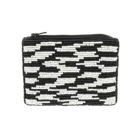 Black and White Beaded Pouch