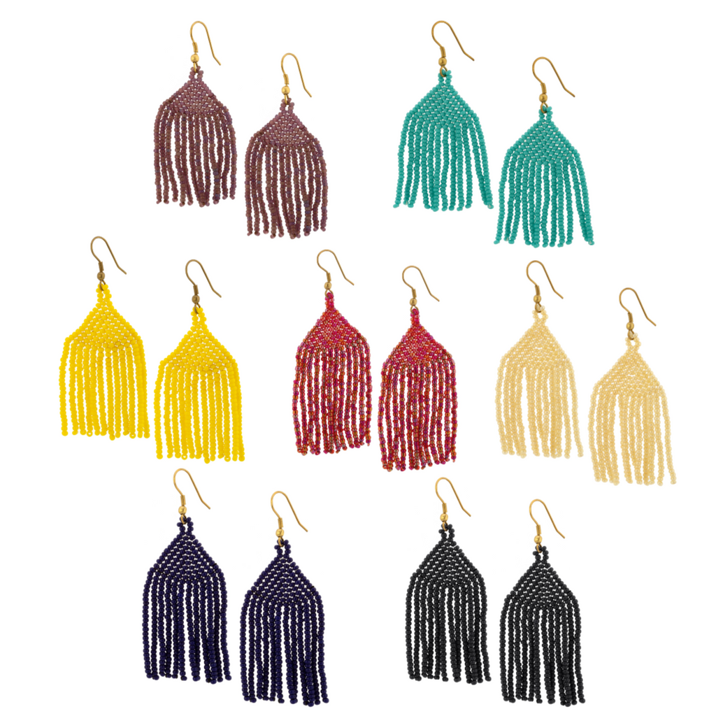 Fringe Beaded Earrings