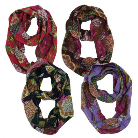 Hand Stitched Kantha Infinity Scarf