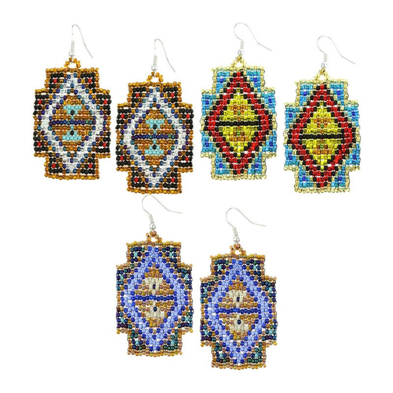 Mayan Pyramid Beaded Earrings