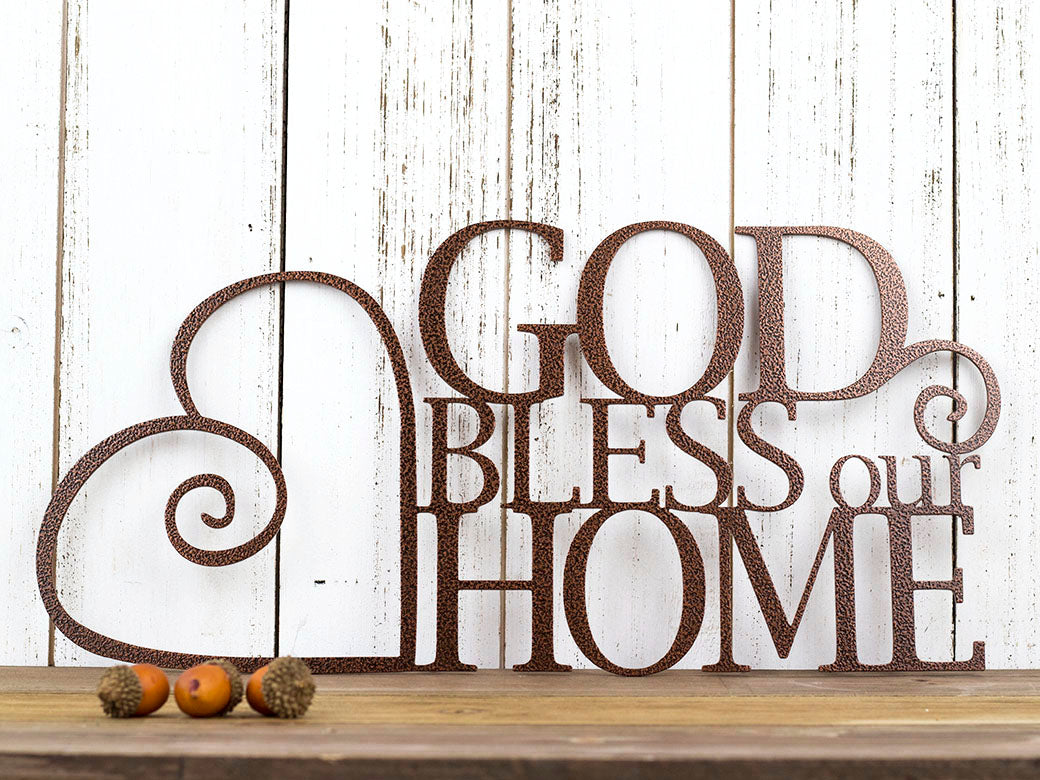 Attractive God Bless Our Home Metal Wall Art | 13.5x6.5 | Copper Vein  UH18