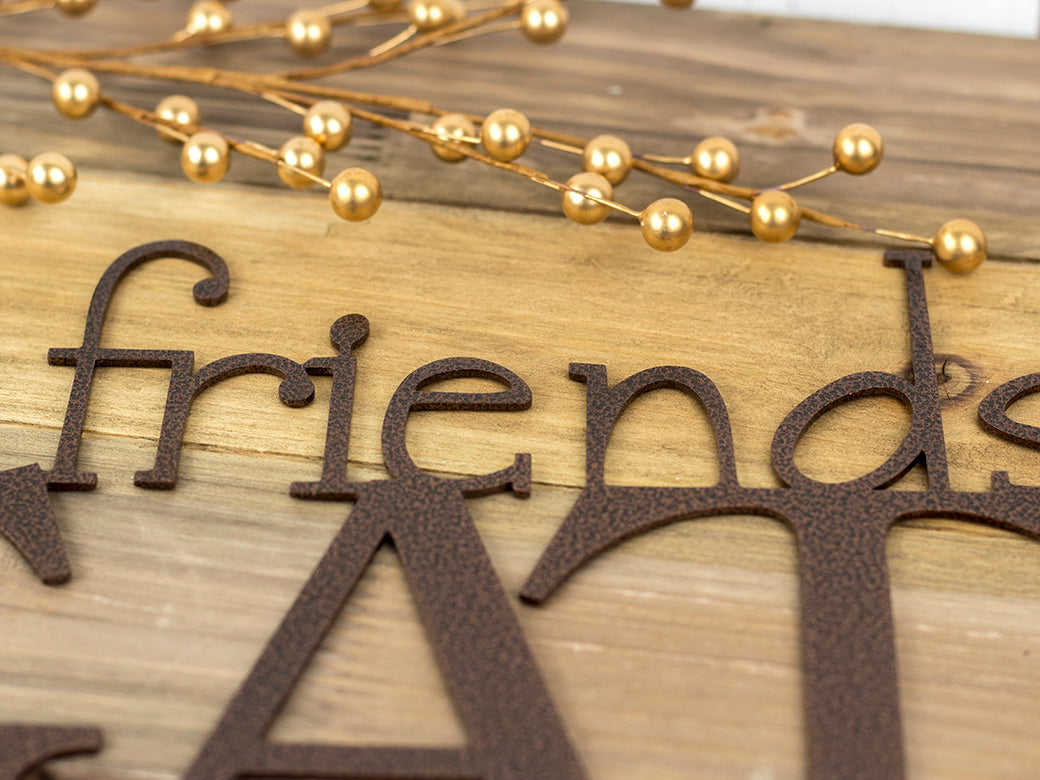 Friends & Family Gather Here Metal Wall Art | 24x12 | Copper Vein ...