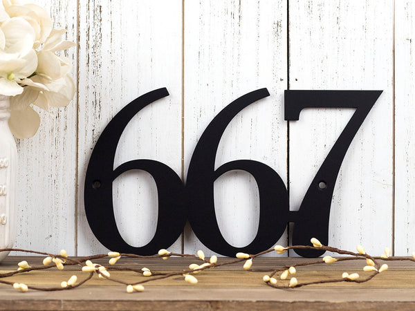Beau Custom House Number Metal Sign | 3 Digit | Matte Black