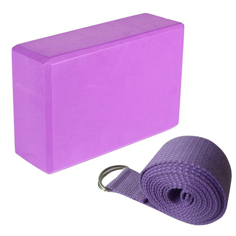Yoga Blocks and Yoga Strap Set EVA Foma Comfortable Firm Blocks with Lightweight Suit for Yoga Pilates Lovers(Purple) - RXD PRO Functional Fitness