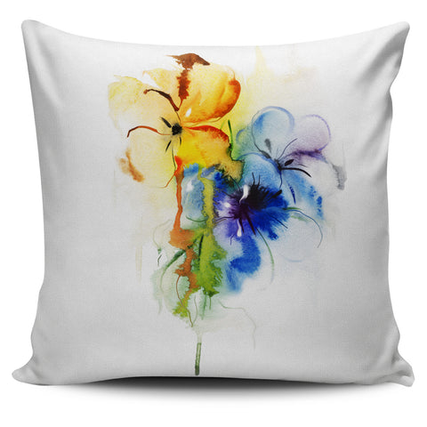 Yellow and Blue Flowers Pillow Cover