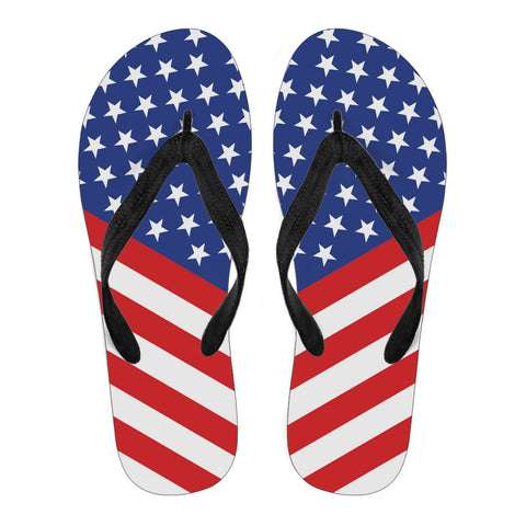 Red, White & Blue Ladies Flip Flops- Black