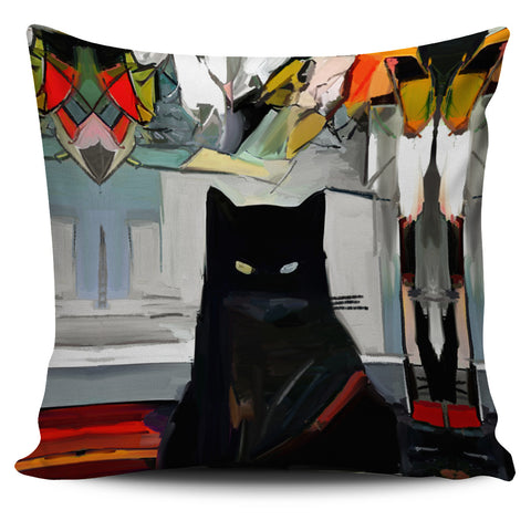 Black Cat Pillow Cover