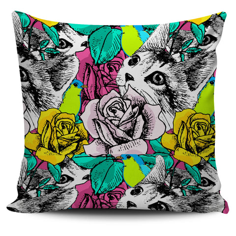 Cat in Flower Pillow Cover