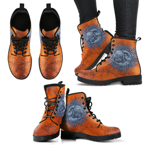 Sun and Moon Flower Mandala Women's Leather Boots