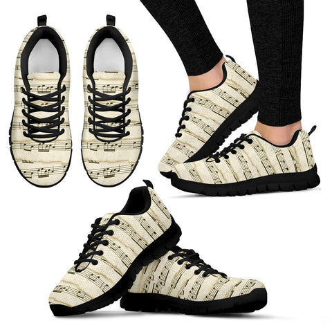 Music Notes Women's Sneakers