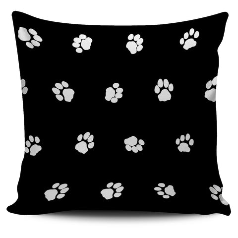 Black/White Paws Cats Pillow Cover