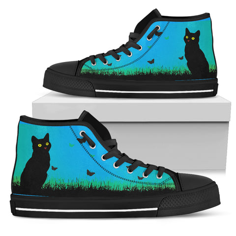 Cat & Butterflies - Women's High Top Black Soles