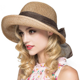 Straw Hat With Turned Up Brim