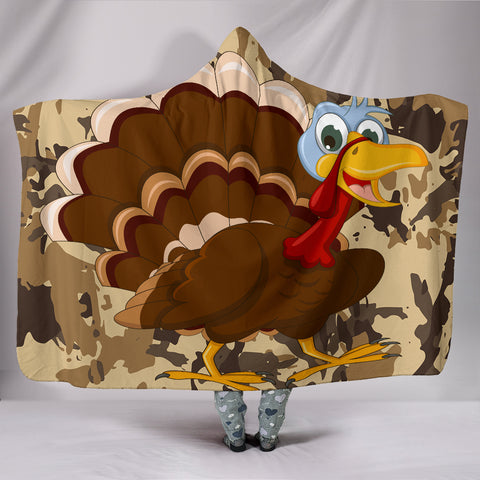 Turkey Plush Lined Hooded Blanket
