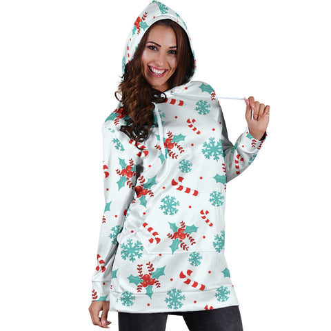 Candy Cane & Snow Flakes Hoodie Dress/Tunic