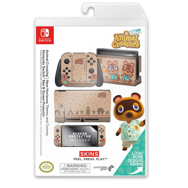 Controller Gear Nintendo Switch Skin & Screen Protector Set (Animal Crossing: Timmy and Tommy)