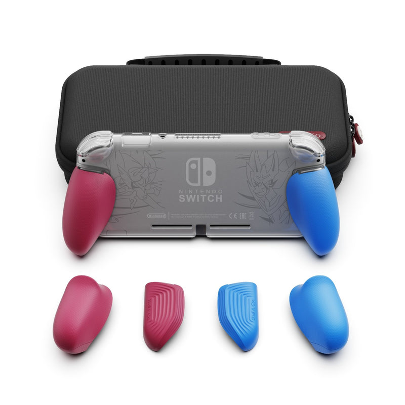 Skull & Co. GripCase Lite Bundle for Nintendo Switch Lite (with MaxCarry Case Lite) - Cyan & Magenta
