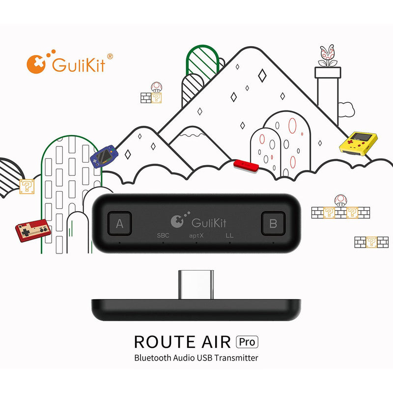 Gulikit Route Air PRO Wireless Bluetooth Audio USB Adapter (with MIC) for Nintendo Switch - Black