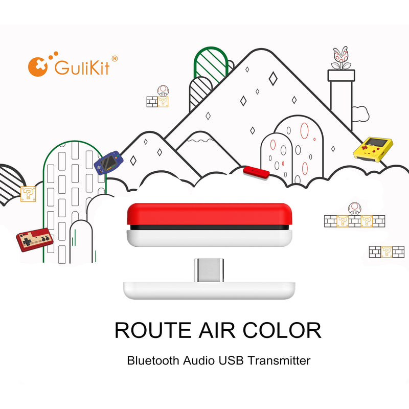 Gulikit Route Air Wireless Bluetooth Audio USB Adapter for Nintendo Switch - White/Red