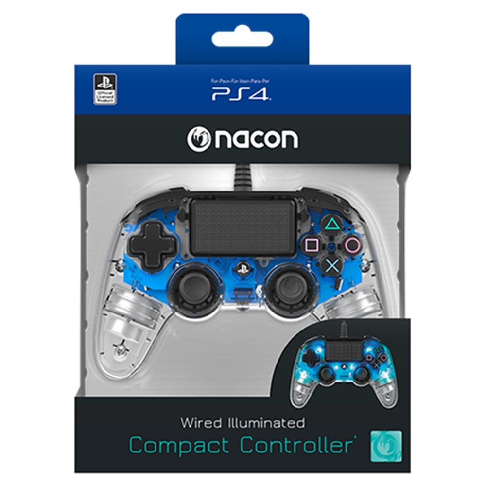 Nacon Wired Compact Controller For Playstation 4 Ps4 Illuminated Stik New Model Glacier White Light Blue