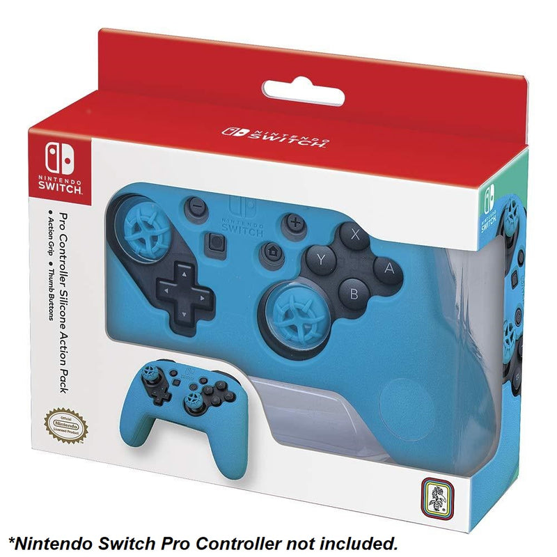 Action Pack Silicone Grip & Thumb Buttons for Nintendo Switch Pro Controller (Blue)
