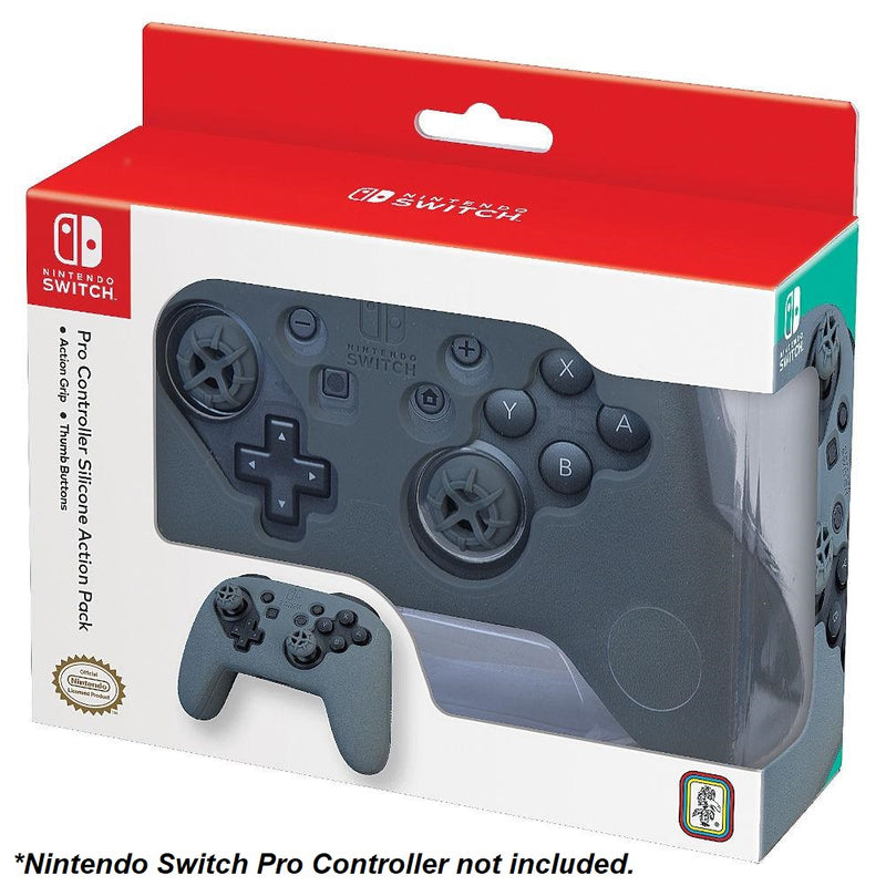 Action Pack Silicone Grip & Thumb Buttons for Nintendo Switch Pro Controller (Grey)