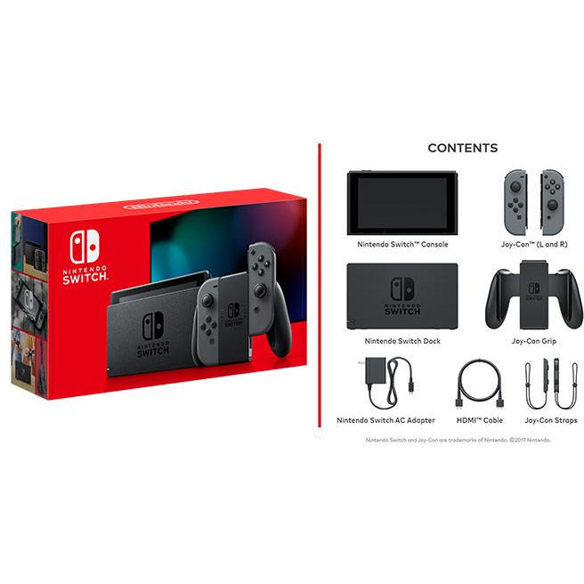 Nintendo Switch Console with Grey Joy-Con (New Look Packaging 2019)
