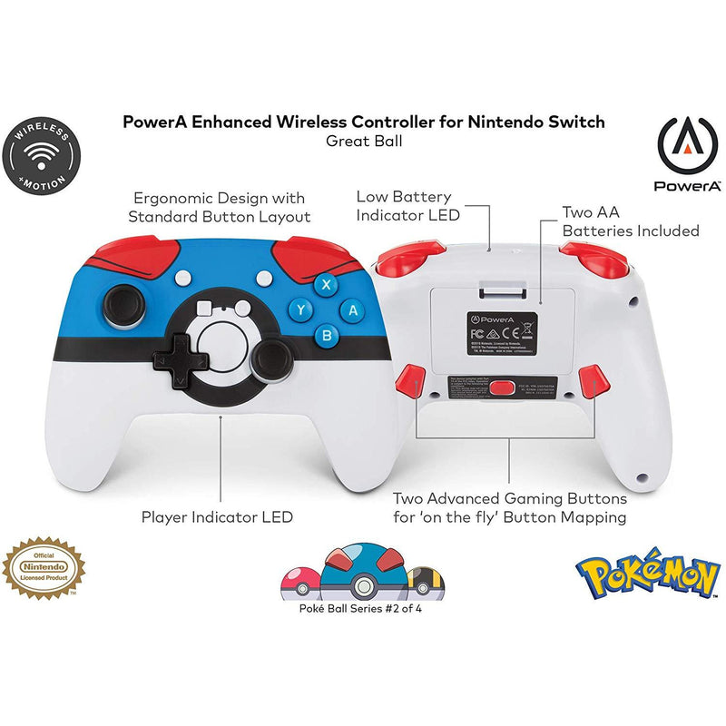 Nintendo Switch Enhanced Wireless Controller (Pokemon Great Poke Ball)