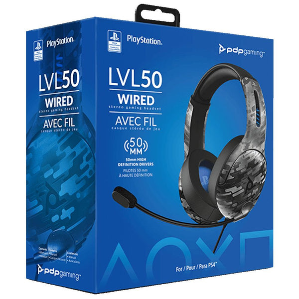 PDP LVL50 Wired Stereo Gaming Headset for PS4/PS5 (Black Camo)