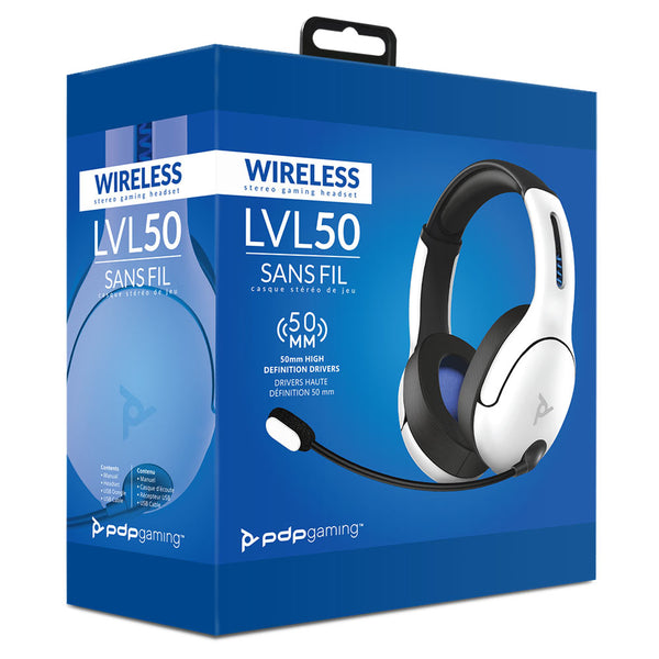 PDP LVL50 Wireless Stereo Gaming Headset for PS4/PS5 (White)