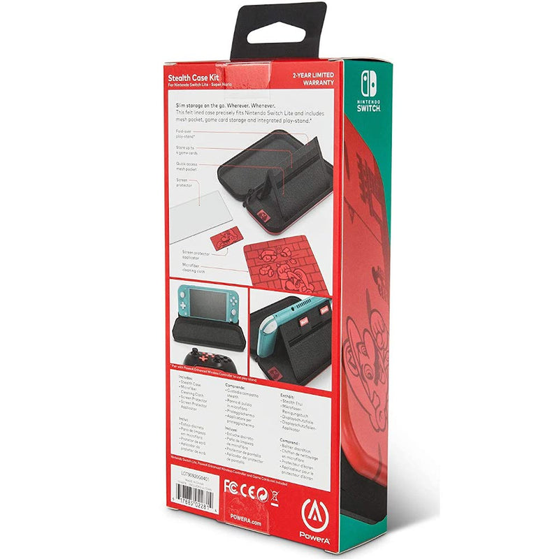 PowerA Slim Stealth Case Kit for Nintendo Switch Lite (Super Mario Red)