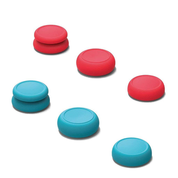 Skull & Co. Thumb Grip Set for Nintendo Switch Joy-Con Controller (Neon Red & Neon Blue)