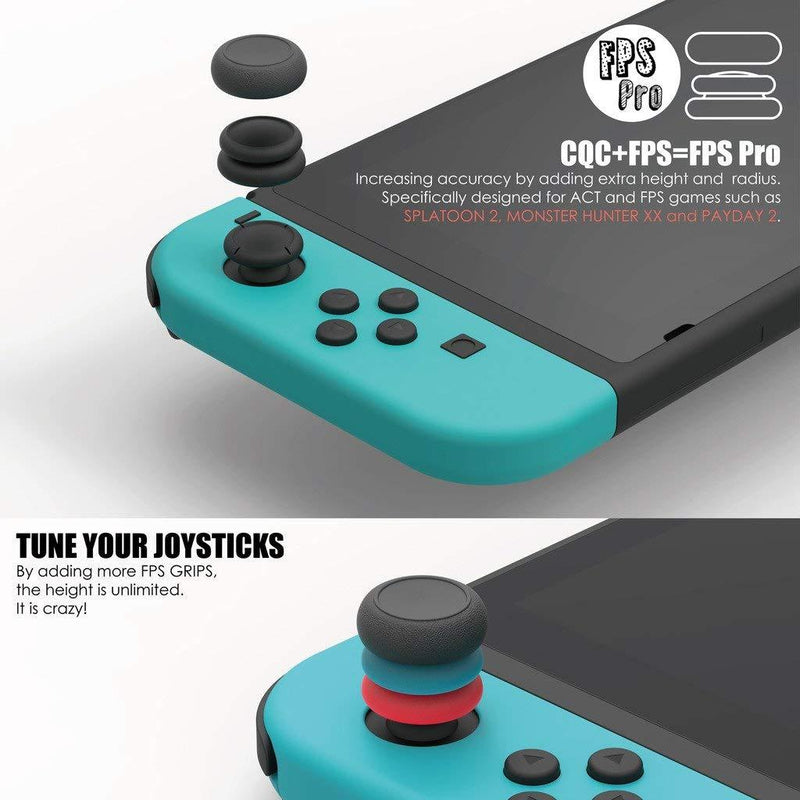 Skull & Co. Thumb Grip Set for Nintendo Switch Joy-Con Controller (Neon Red & Neon Blue) Controller Accessories Skull & Co.